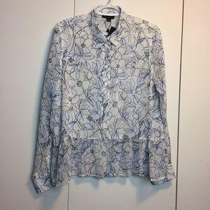 Tommy Hilfiger Floral Sheer Button Blouse Shirt